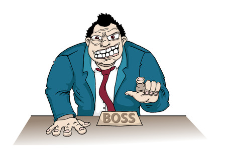 Angry boss pointing, with a clock behind him Vector