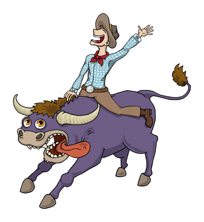 Happy Cowboy Riding Bull In Rodeo
