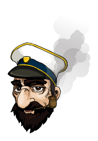 black hair blue eyes: captains portrait with smoke from pipe