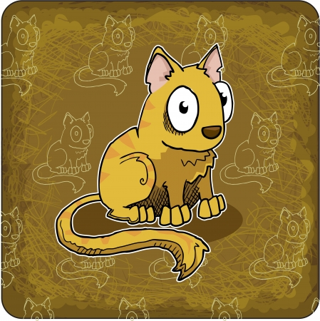 greeting card with cute, cartoon cat Vector
