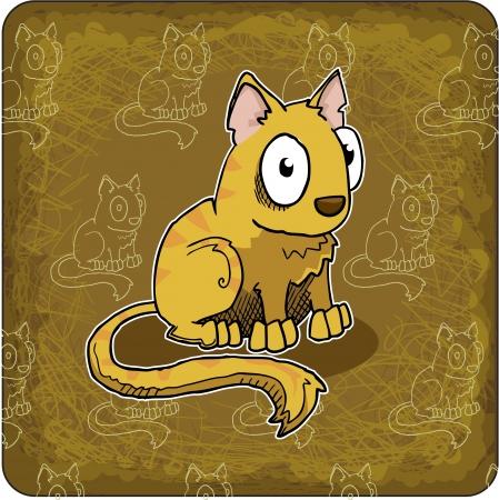 greeting card with cute, cartoon cat Stock Vector - 24500945