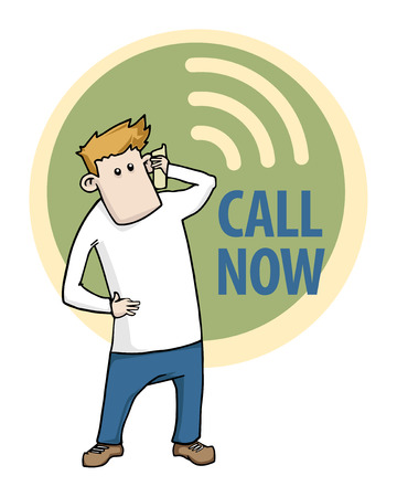 Call now label with a cartoon character talking on the phone Vector