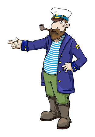 experienced: cartoon captain standing and pointing Illustration