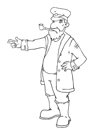cartoon captain standing and pointing Ilustrace
