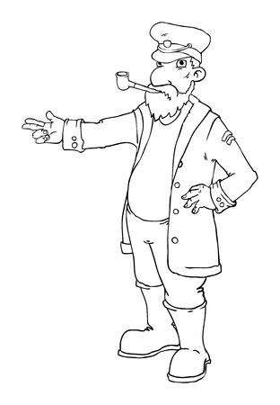 Cartoon Kapitän Stehen und Zeige