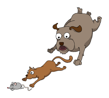 Dog cat and mouse chasing together, Vector