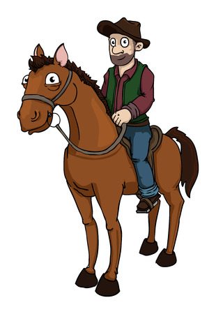 cowboy on horse: Cowboy on a horse  Illustration