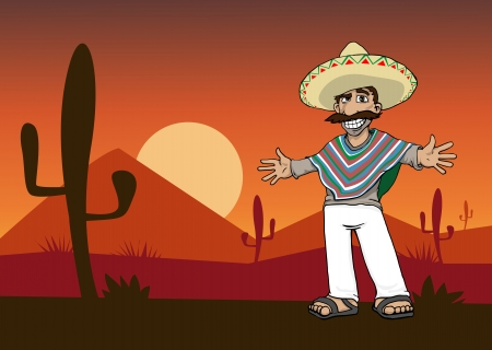 poncho: Mexican Cartoon Character standing in the desert at sunset