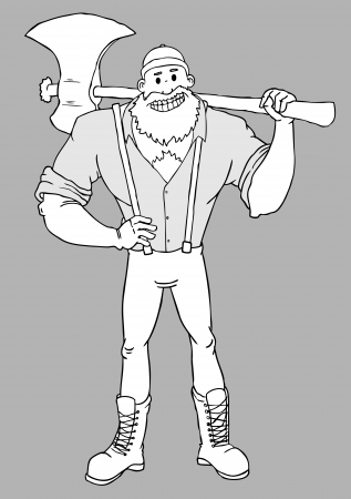woodcutter: cartoon woodcutter with a huge axe smiling Black and White
