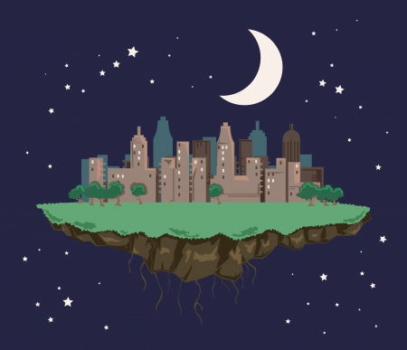 Colorful abstract city landscape floating in the night sky Vector