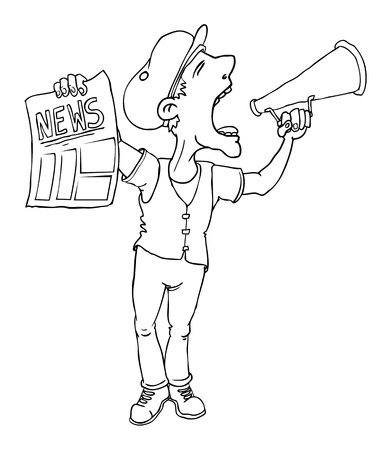 Paperboy selling news papers and shouting Vector