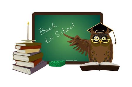 Back to school owl with blackboard  Vector