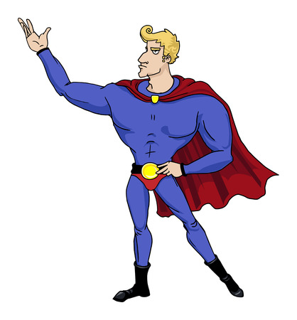 heroic: Big chin smiling superhero in heroic stance