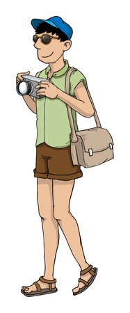 Tourist on vacation with camera Vector