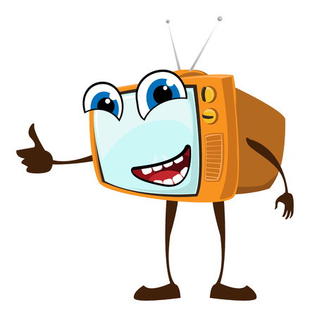 Cute happy face on retro TV set Vector