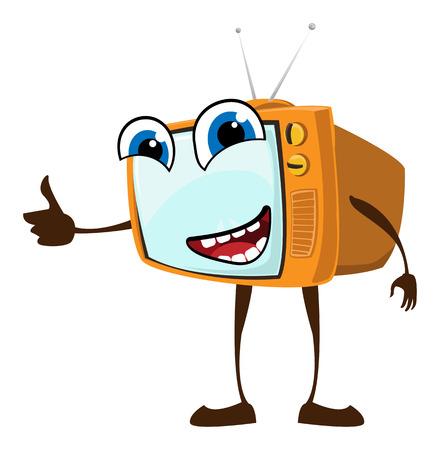 Visage heureux mignon sur téléviseur rétro Banque d'images - 25439162