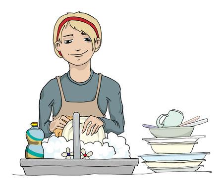 お皿を洗う女の子  イラスト・ベクター素材