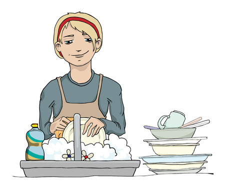 dish washing: Girl washing the dishes