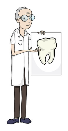 Professor holding a sign with a tooth