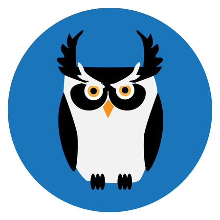 Cute black and white owl Vector