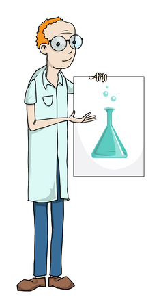 Professor holding a sign with a laboratory flask Illustration