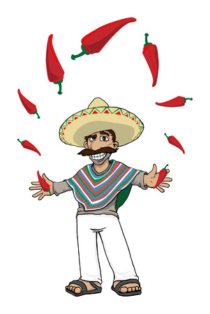 sombrero cartoon: funny cartoon Mexican with hot peppers Illustration