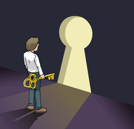 seeking solution: young business man with a key, standing in front of the door