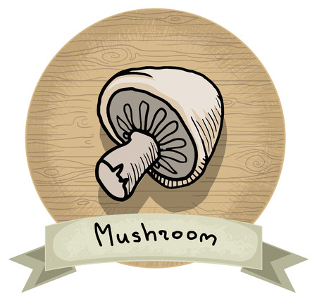 Hand drawn mushroom icon, with a name and wooden background Vector