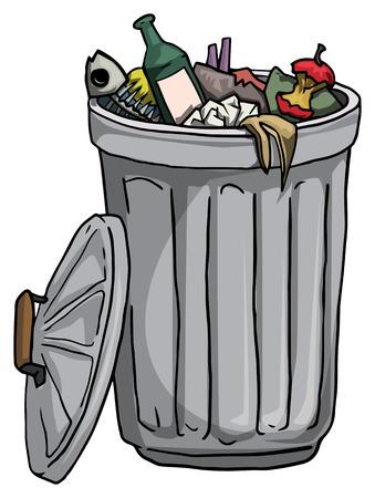 cesto basura: Bote de basura lleno de basura