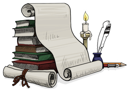 Inkwell with a feather and a papers against old books Vector