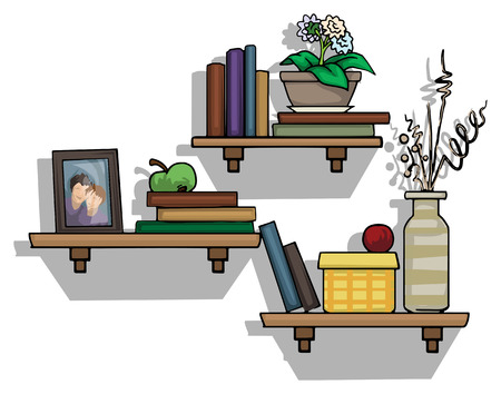 Shelf s of colorful books, border frame, and green apple Vector