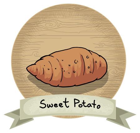 batata: Dibujado a mano icono de la patata dulce, con un nombre y un fondo de madera