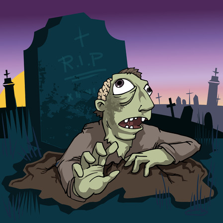 Zombie coming out of the grave Vector