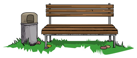 central park: Park bench with a bin
