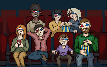 watching 3d: Crowd of people in a cinema watching 3D movie