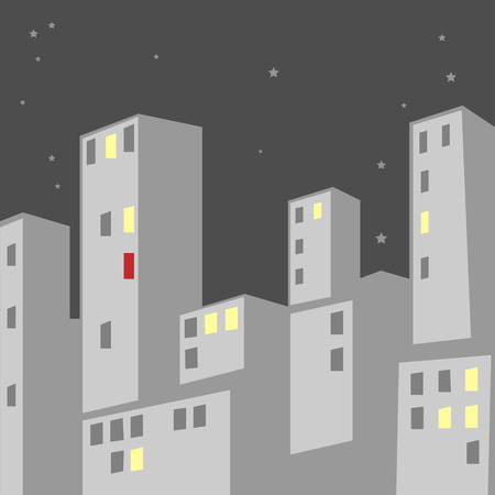 city landscape: Abstract City landscape at night, Illustration