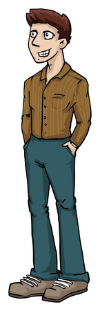 guy standing: Cool, confident looking guy, standing, smiling Illustration