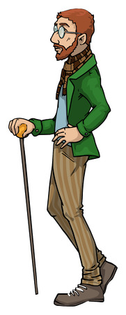 Fancy dressed man with a cane Vector