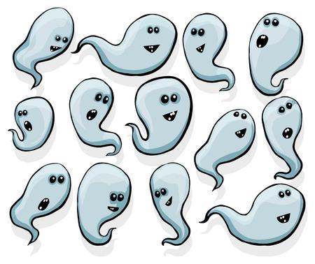 poltergeist: Set of random happy ghosts, transparent
