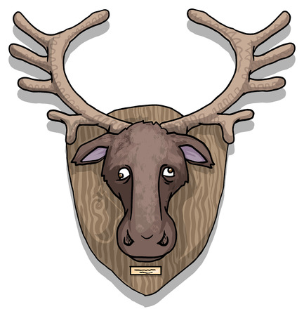 Moose head on a wall Vector