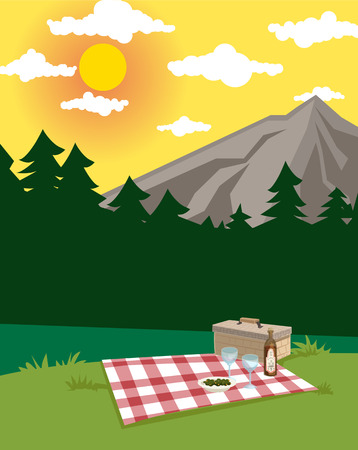 picnic blanket: picnic in a beautiful rural mountain landscape with wine glasses and wicker basket Illustration