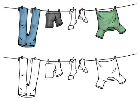 dirty clothes: hanging clothes on washing line, color and outline