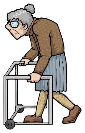 oudere vrouw lopen Stock Illustratie