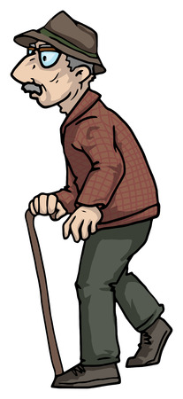 grumpy: elderly man walking