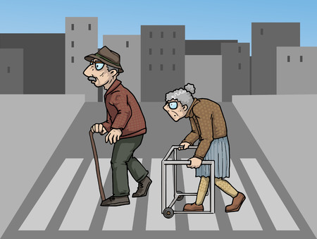 wo elderly people crossing a street Illustration