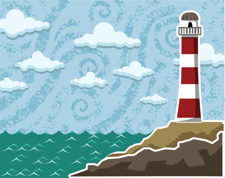 sea landscape: Abstract, textured sea landscape with a lighthouse