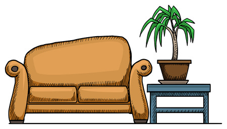 Couch, with a potted plank, isolated