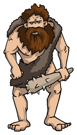 Grubby cave man with a club