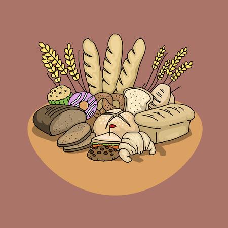 thresh grain: Set of variuos breads Illustration