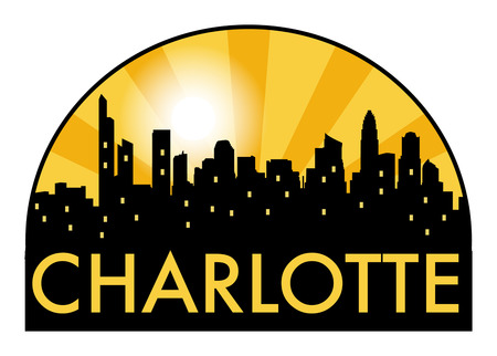 Abstract skyline charlotte, with various landmarks, vector illustration
